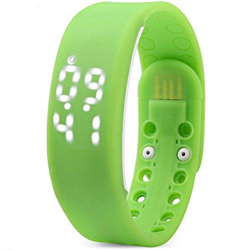 Leopard Shop TVG KM I Jugend Sport Armbanduhr Multifunktional Unisex LED Kalender magnetisch Temperatur erkennen gruen