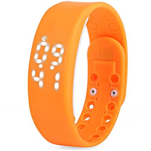 Leopard Shop TVG KM I Jugend Sport Armbanduhr Multifunktional Unisex LED Kalender magnetisch Temperatur erkennen orange