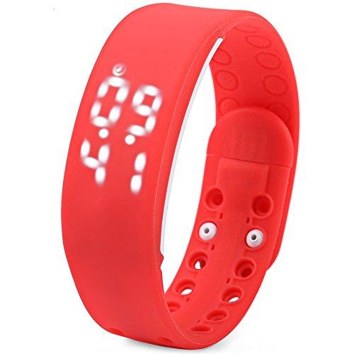 Leopard Shop TVG KM I Jugend Sport Armbanduhr Multifunktional Unisex LED Kalender magnetisch Temperatur erkennen rot