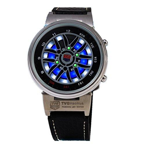 Leopard Shop TVG X6 Stecker Sport Armbanduhr Mode LED Digital Multifunktionsuhr 50 m Wasser Widerstand weiss
