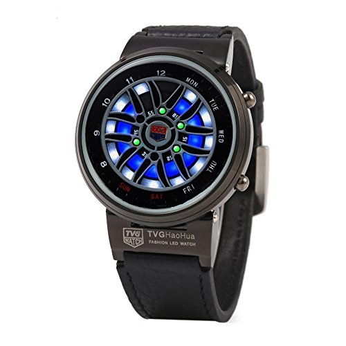 Leopard Shop TVG X6 Stecker Sport Armbanduhr Mode LED Digital Multifunktionsuhr 50 m Wasser Widerstand schwarz