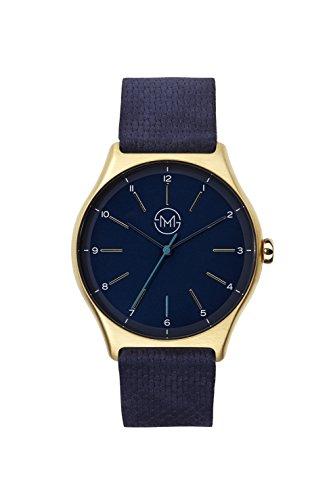 slim made one 10 Extra schlanke unisex Armbanduhr in gold blaub