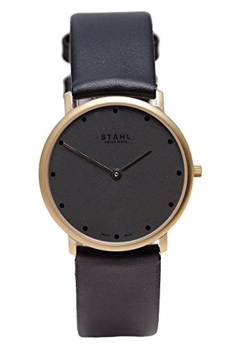 Stahl Swiss Made Armbanduhr Modell st61101 vergoldet klein 27 mm Fall 12 dot Silber Zifferblatt