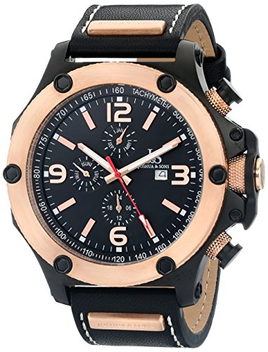Joshua Sons Herren Analog Display Swiss Quartz Black Watch JS75RG