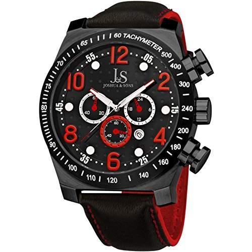Joshua & Sons Herren 52mm Chronograph Schwarz Edelstahl Armband Uhr JS-14-RD