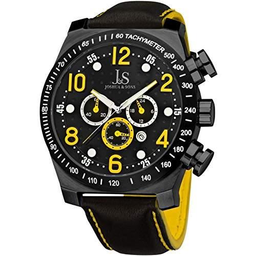 Joshua & Sons Herren 52mm Chronograph Schwarz Edelstahl Armband Uhr JS-14-YL