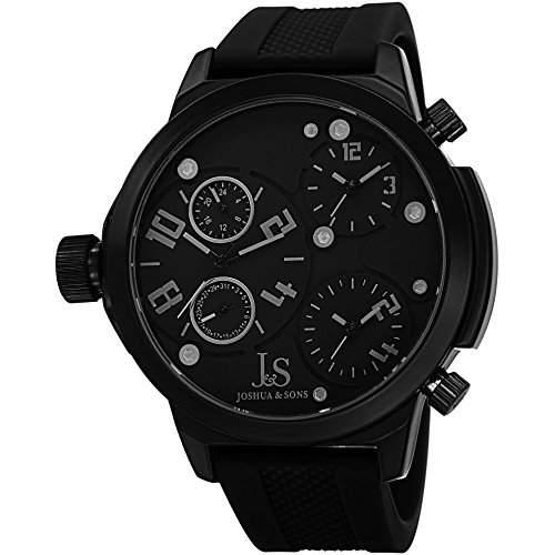 Joshua & Sons Herren 53mm Schwarz Silizium Armband Metall Gehäuse Uhr JS-40-BK