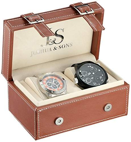 Joshua & Sons Herren Analog Display Japanisches Quartz Black Watch Set