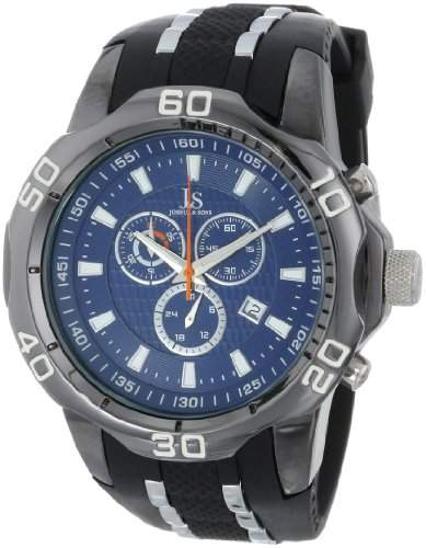Joshua & Sons Herren Armbanduhr Schwarz Metall mit zweifarbigen Silikon Gurt