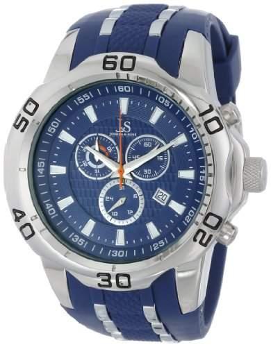 Joshua & Sons Herren Armbanduhr Blau und silberfarbenes Metall mit Silikon Gurt