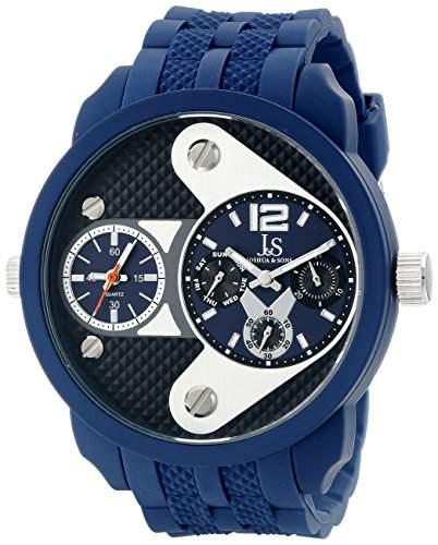 Joshua & Sons Herren 52mm Blau Plastik Armband Metall Gehaeuse Datum Uhr JS52BU