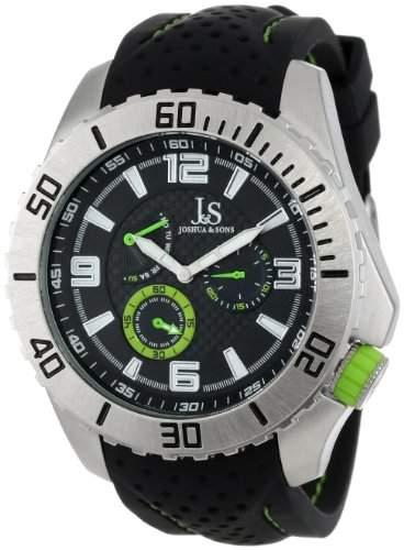 Joshua & Sons Herren Armbanduhr Multifunktions-silberfarbenes mit black-and-green Silikon Band