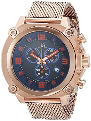 Joshua & Sons Herren Analog Display Swiss Quartz Rose Gold Watch