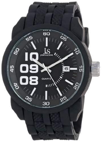 Joshua & Sons Herren Armbanduhr Schwarz Metall mit strukturiertem Silikon Band
