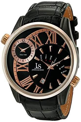 Joshua & Sons Herren Analog Display Japanisches Quartz Black Watch