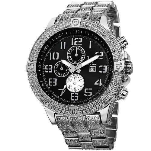 Joshua & Sons Herren-Swiss Quarz Multifunktions Schwarz Zifferblatt silberfarbenes Armband Armbanduhr