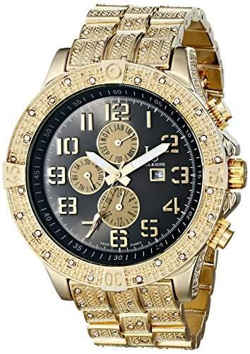 Joshua & Sons Herren-Swiss Quarz Multifunktions Schwarz Zifferblatt goldfarbene Armband Armbanduhr