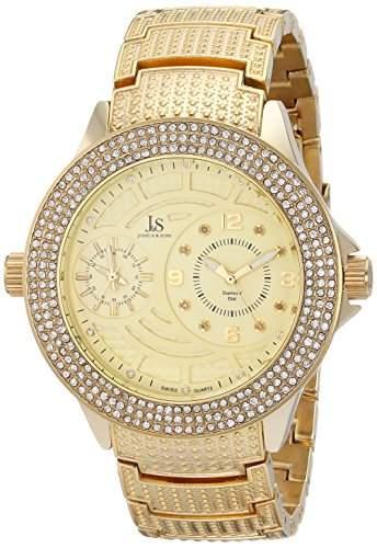 Joshua & Sons Herren goldfarbene Armbanduhr mit Kristallen und Diamanten