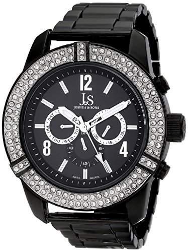 Joshua & Sons Herren 515mm Schwarz Metall Armband Metall Gehaeuse Uhr JS81BK