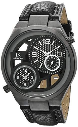 Joshua & Sons Herren-Swiss Quarz Dual Time schwarz Lederband Armbanduhr