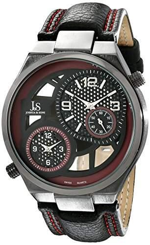Joshua & Sons Herren-Swiss Quarz Dual Time rot Accent Schwarz Lederband Armbanduhr