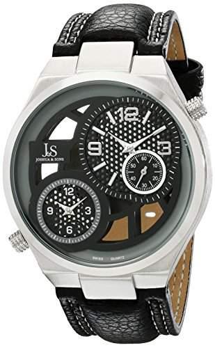 Joshua & Sons Herren-Swiss Quarz Dual Time silberfarbenes Schwarz Lederband Armbanduhr
