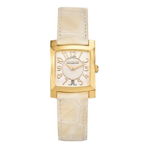Saint Honore Orsay Damen Beige Leder Armband Mineral Glas Datum Uhr 731117 3AYBT