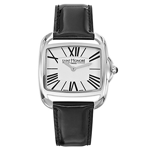Saint Honore Charisma Damen Schwarz Leder Armband Mineral Glas Uhr 721061 1AR
