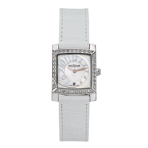Saint Honore Orsay Damen Diamanten Weiss Leder Armband Uhr 731028 1YBB