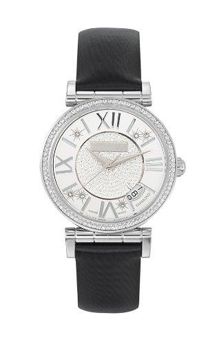 Saint Honore Opera Damen Diamanten 33mm Schwarz Leder Armband Uhr 752012 1PARDN