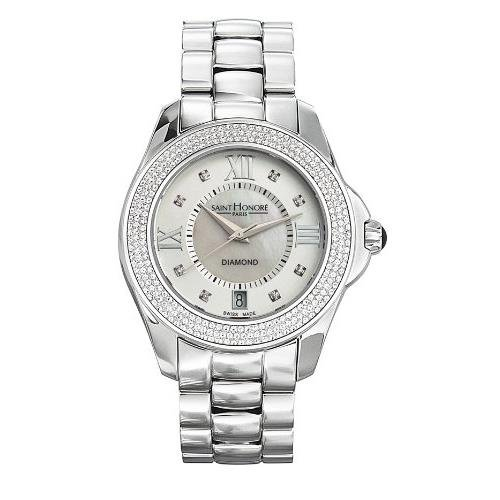 Saint Honore Coloseo Damen Diamanten 38mm Mineral Glas Datum Uhr 761110 1AY8DN