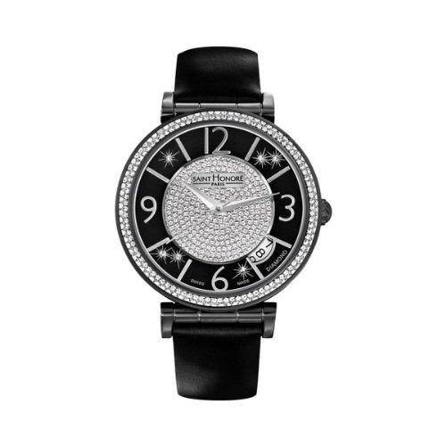Saint Honore Opera Damen Diamanten 37mm Schwarz Leder Armband Uhr 766016 71PANBD