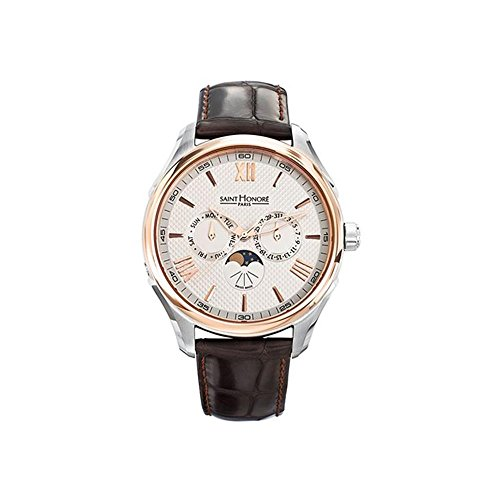 Saint Honore Herren 42mm Quarzwerk Braun Leder Armband Uhr 850050 8ARAR
