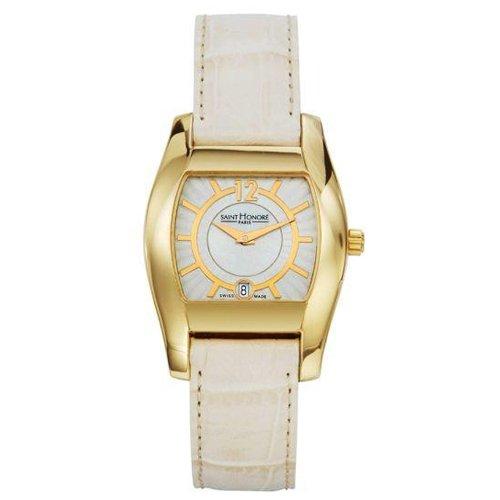 Saint Honore Monceau Damen Weiss Leder Armband Mineral Glas Datum Uhr 741052 3BYB