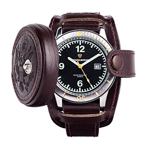 uptreck ii Burgund von Conqueror Burgund Leder schwarz Zifferblatt Datum Armbanduhr cnqu 032114b