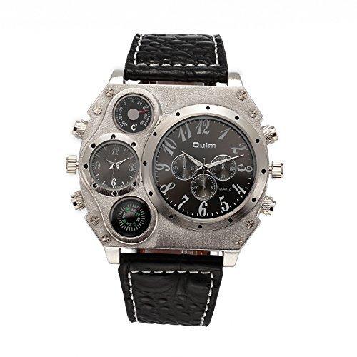 topwatch Oulm New Style Analog schwarz Lederband Vier Zifferblaetter zur Herren Quatrz Watch schwarz Fall