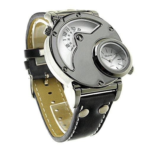 topwatch Oulm Sport mehrere Time Zone Military Japan Quarzwerk Lederband schwarz Fall Armbanduhr weiss