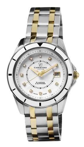 Design Christina London Energie WomenQuarz-Uhr mit weissem Zifferblatt Analog-Anzeige und Zwei-Ton-Armband Edelstahl vergoldet 149BW