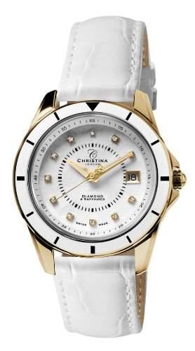 Design Christina London Energie Womens-Quarz-Uhr mit weissem Zifferblatt Analog-Anzeige und weisse Lederband 149GWW