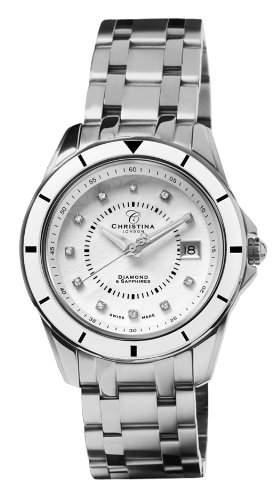 Design Christina London Energie WomenQuarz-Uhr mit weissem Zifferblatt Analog-Anzeige und Silber-Edelstahl-Armband 149SW