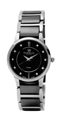 Design Christina London Dream WomenKeramik-Quarz-Uhr mit schwarzem Zifferblatt Analog-Anzeige und Zwei-Ton-Armband 151SBL