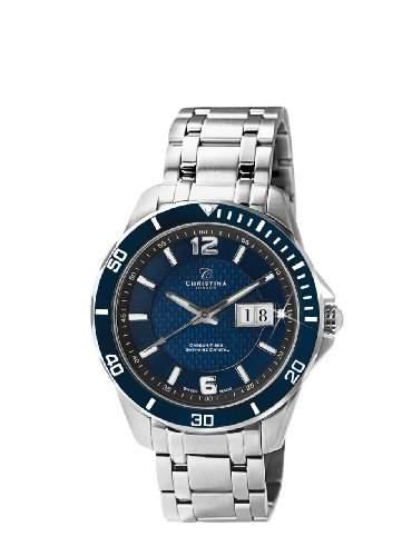 Christina Design London Herren-Armbanduhr Analog Edelstahl blau 515SBLUE