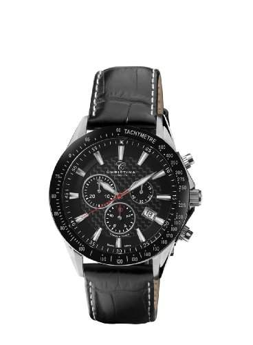 Design Christina London MenRacing Sport-Quarz-Uhr mit schwarzem Zifferblatt Analog-Anzeige und schwarzem Lederarmband 516SBLBL