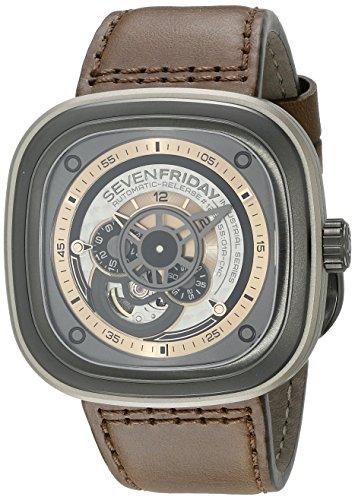 Seven Friday Herren Damen Automatikwerk Braun Leder Armband Uhr P2 1