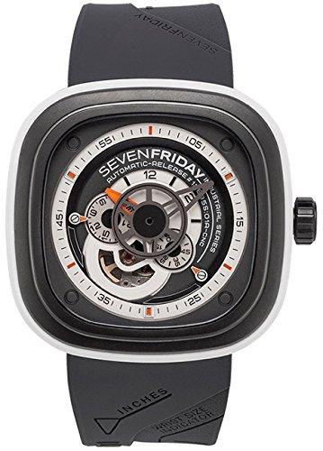 Seven Friday Herren Automatikwerk Grau Kautschuk Armband Saphirglas Uhr P3 3