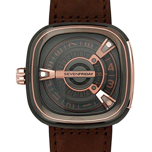 Seven Friday Herren Automatikwerk Braun Leder Armband Saphirglas Uhr SF M2 2