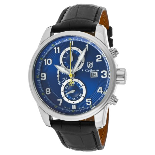 S Coifman Herren Armbanduhr Armband Leder Schwarz Gehaeuse Edelstahl Quarz Zifferblatt Blau Analog SC0304