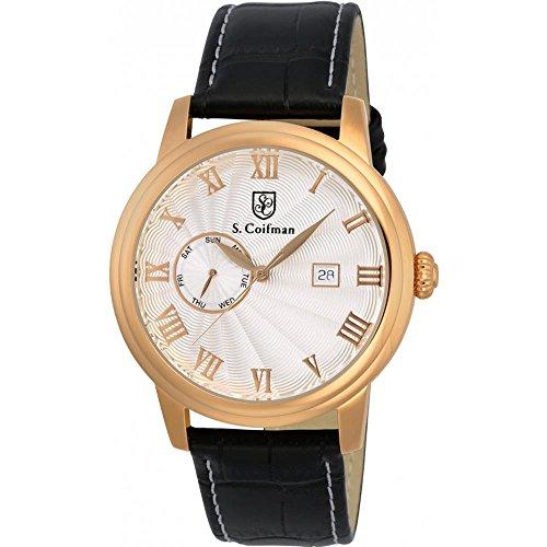 S Coifman Herren Armbanduhr Armband Leder Schwarz Gehaeuse Edelstahl Quarz Zifferblatt Silber SC0388