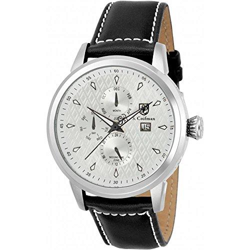S Coifman Herren Armbanduhr Armband Leder Schwarz Gehaeuse Edelstahl Quarz Zifferblatt Silber SC0409