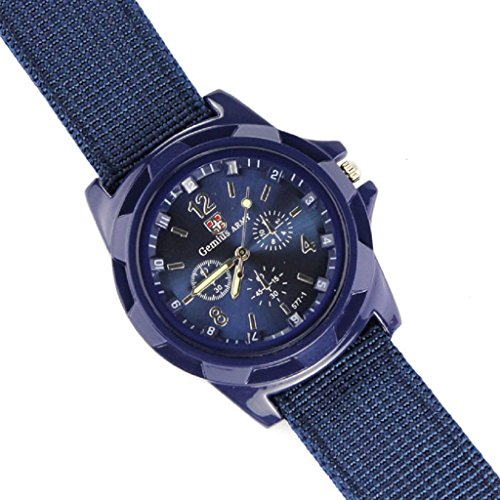 WINWINTOM 1PairGemius Armee Rennen Kraft Militaersport Maenner Gewebe Band Uhr Blau